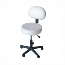 Stool with backrest (Gas Lift) - White