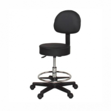 Stool with backrest (Gas Lift) - Black