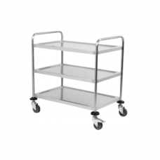 Medical Trolley - White (52 x 45 x 80) '3 Tier Glass Shelves'